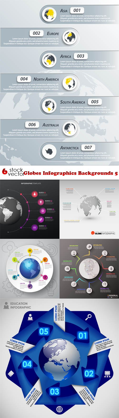 Vectors - Globes Infographics Backgrounds 5