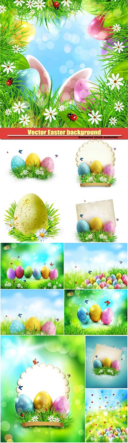 Vector Easter background, easter eggs in green grass with white flowers, butterflies on blue, blurred , natural background