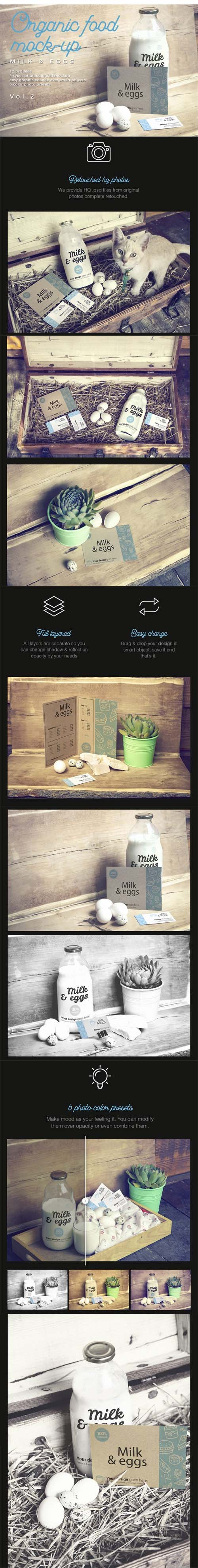 Organic Food Photo Mockup / Milk & Eggs Vol.2
