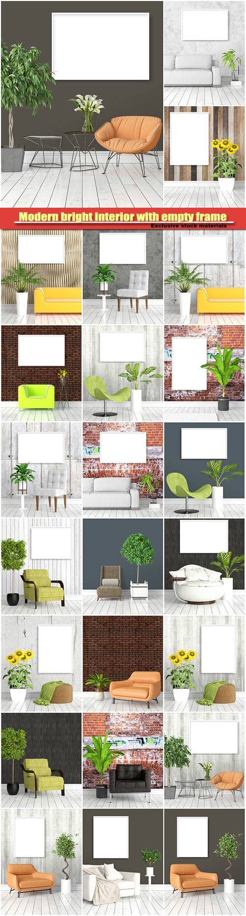 Modern bright interior with empty frame, 3D rendering