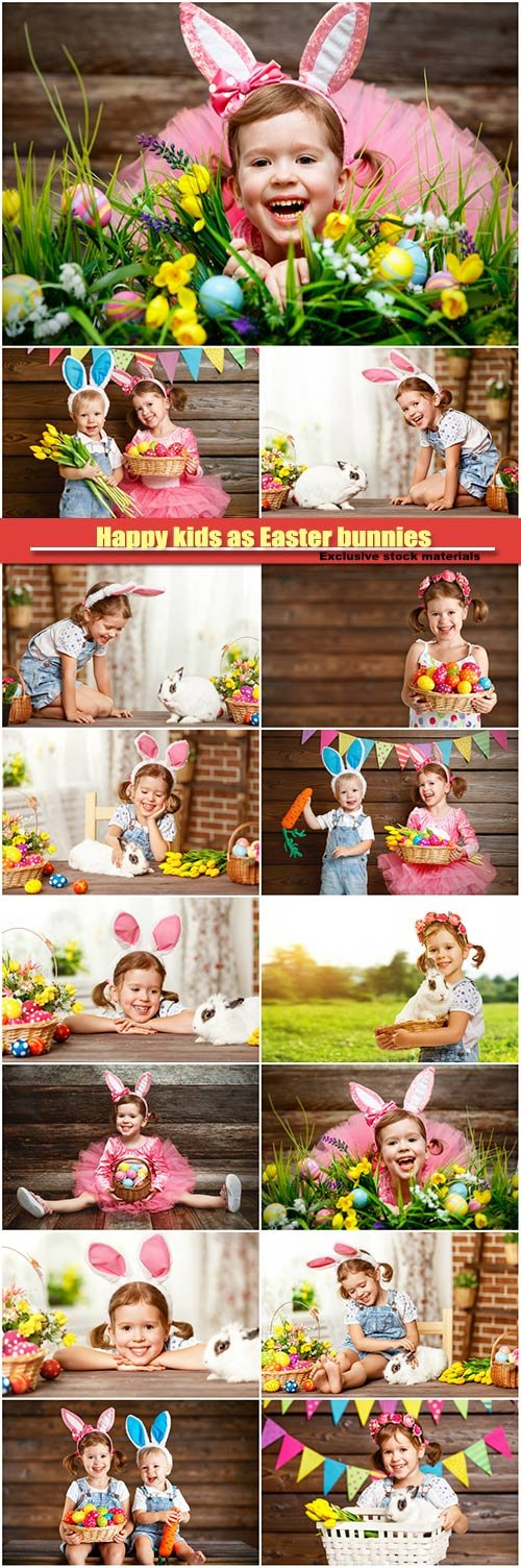 Happy kids boy and girl dressed as Easter bunnies with basket of eggs
