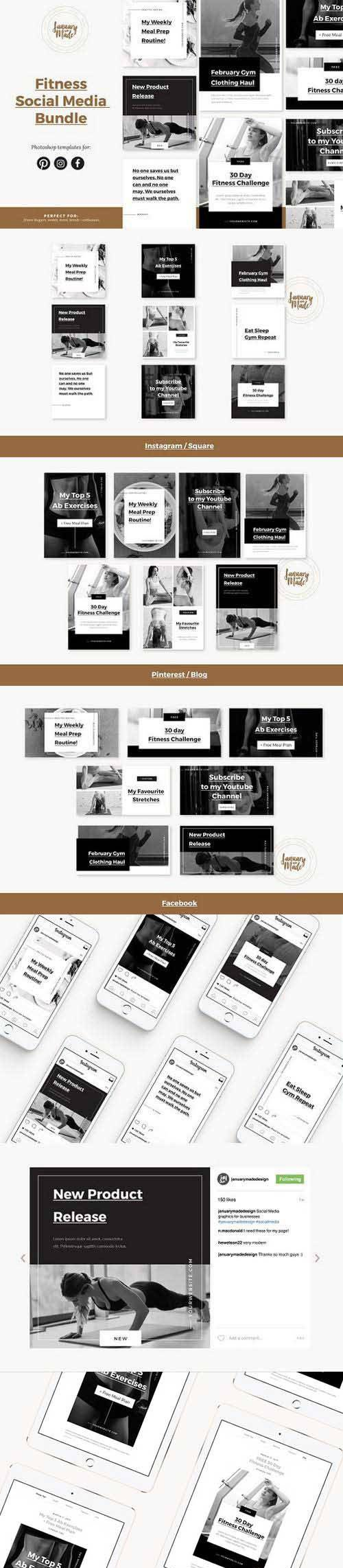 Fitness Social Media Template Bundle