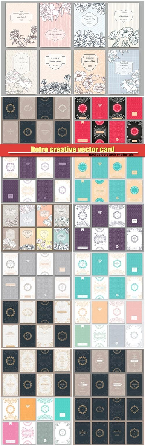 Retro creative vector card template, background for invitation, announcement, brochure, wedding