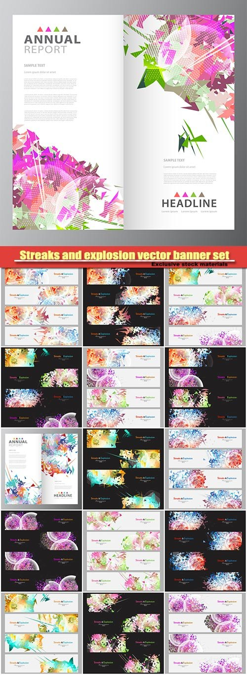 Streaks and explosion vector banner set