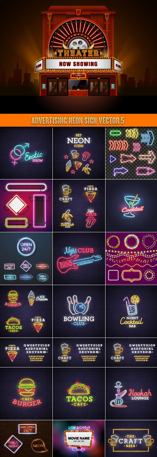 Advertising neon sign vector 5