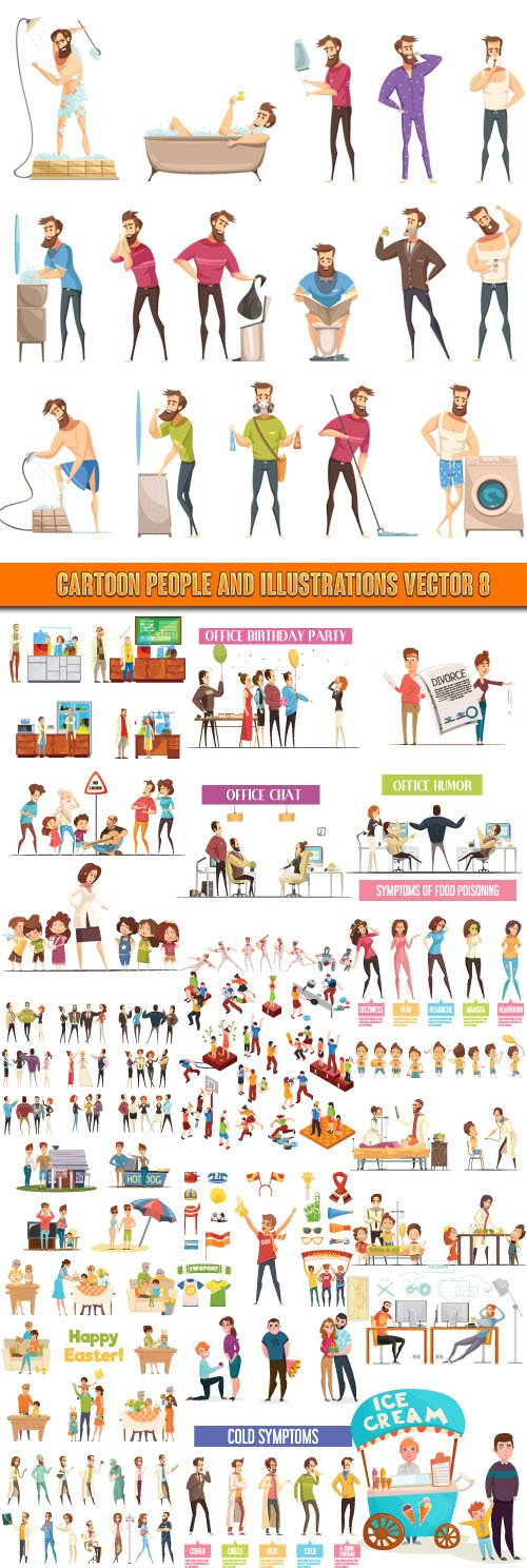 Cartoon people and Illustrations vector 8