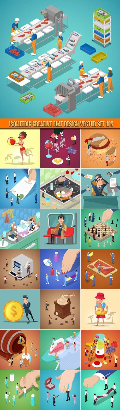 Isometric creative flat design vector set 109