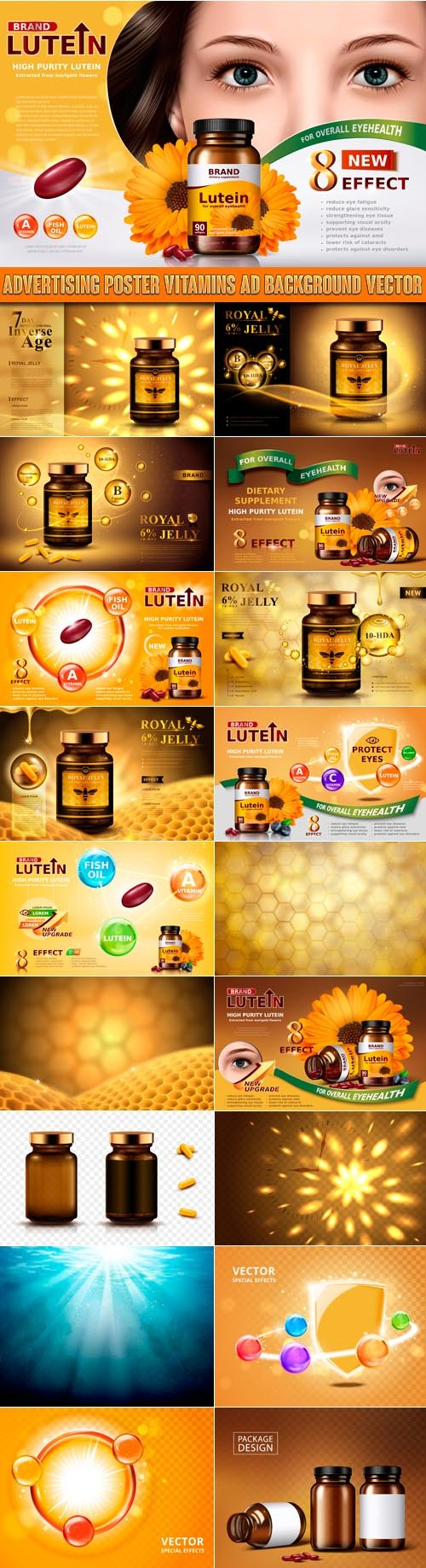 Advertising poster vitamins ad background vector