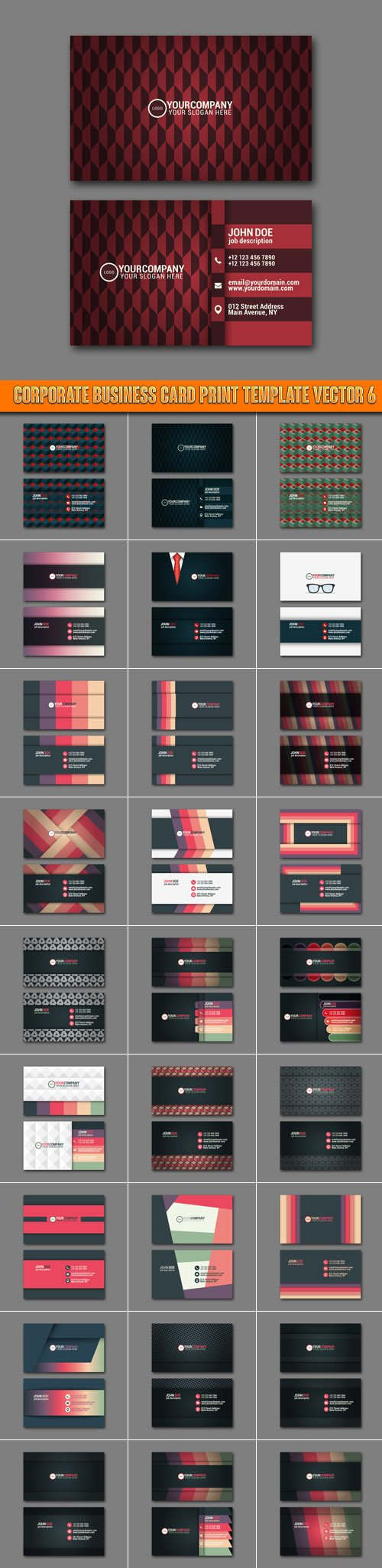 Corporate business card print template vector 6