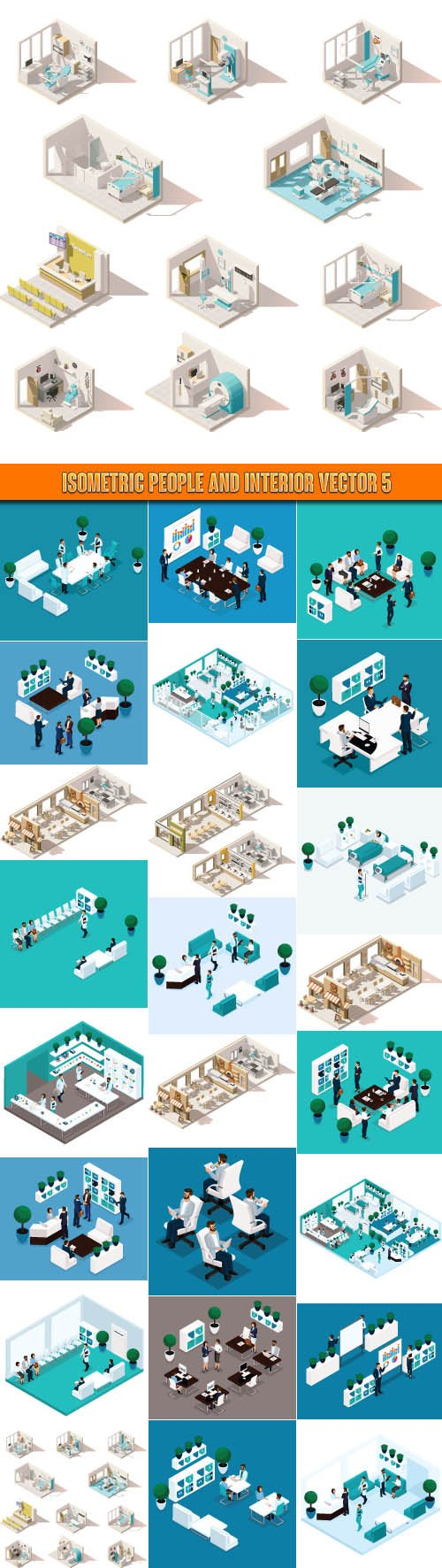 Isometric people and interior vector 5