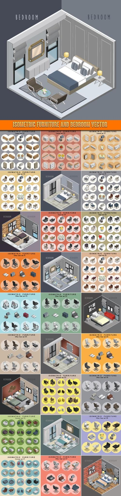 download isometric furniture and bedroom vector free or