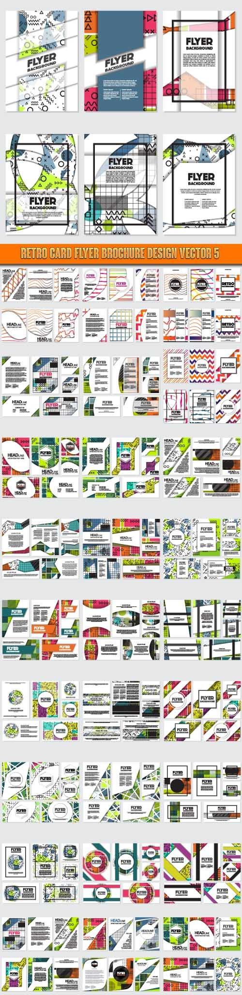 Retro card flyer brochure design vector 5