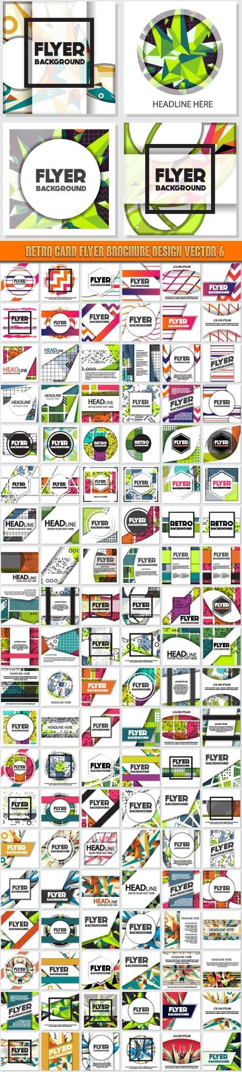 Retro card flyer brochure design vector 6