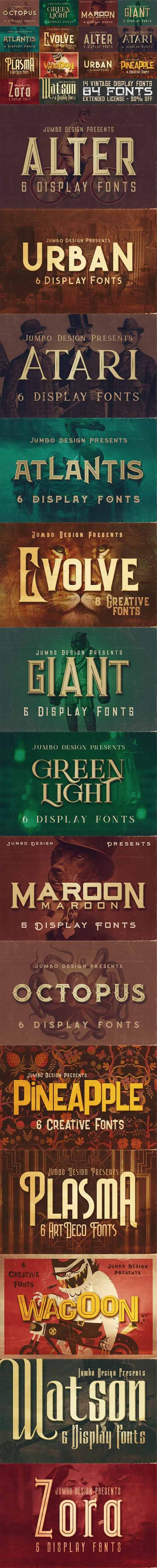 14 Vintage Display Fonts - 84 Fonts