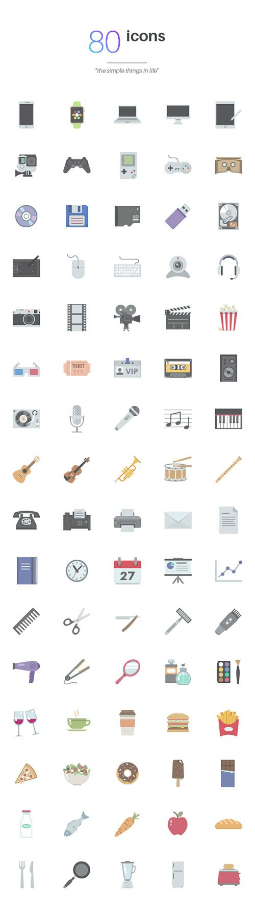 AI, PNG, PSD Web Icons - Simple Things in Life