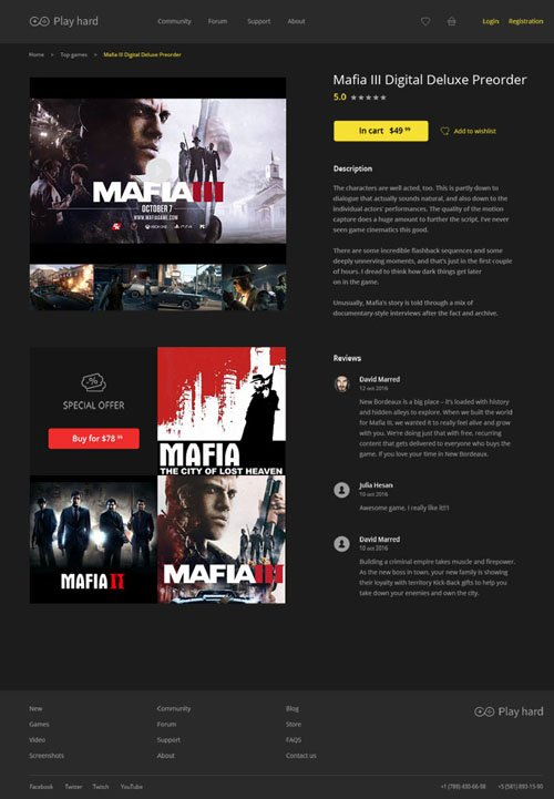 Gaming eCommerce, Music Player and Sports Car Website PSD