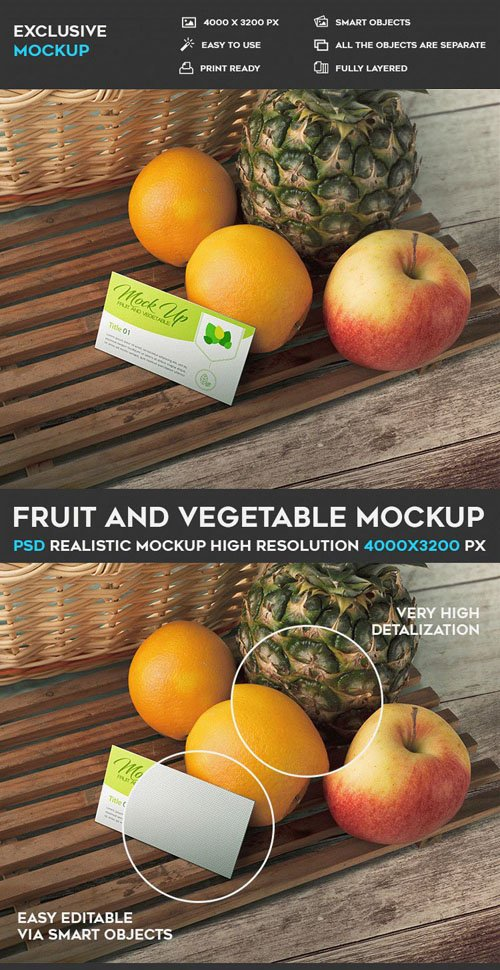 Fruit and Vegetable PSD Mockup