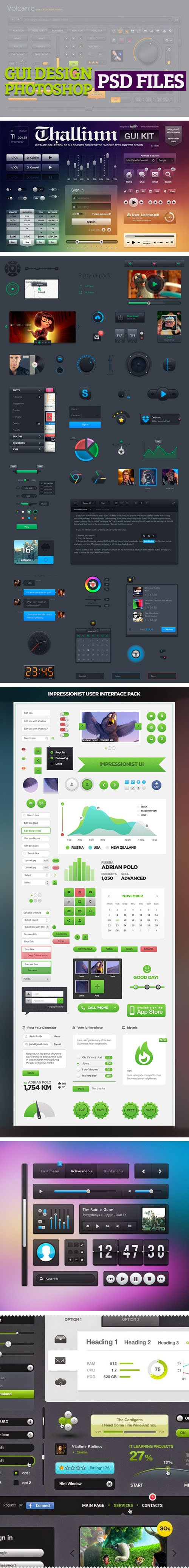 5 Fantastic GUI KIT Photoshop PSD Sets