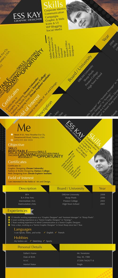 Modern Resume Template Design For Graphic Designers in Vector