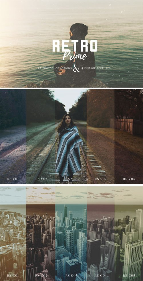 Retro Prime - 10 Photoshop Actions & 5 Vintage Textures