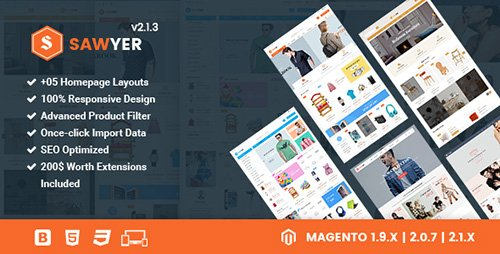 ThemeForest - Sawyer v2.2.0 - Multipurpose Responsive Magento 2 and 1.9 Theme - 15638656