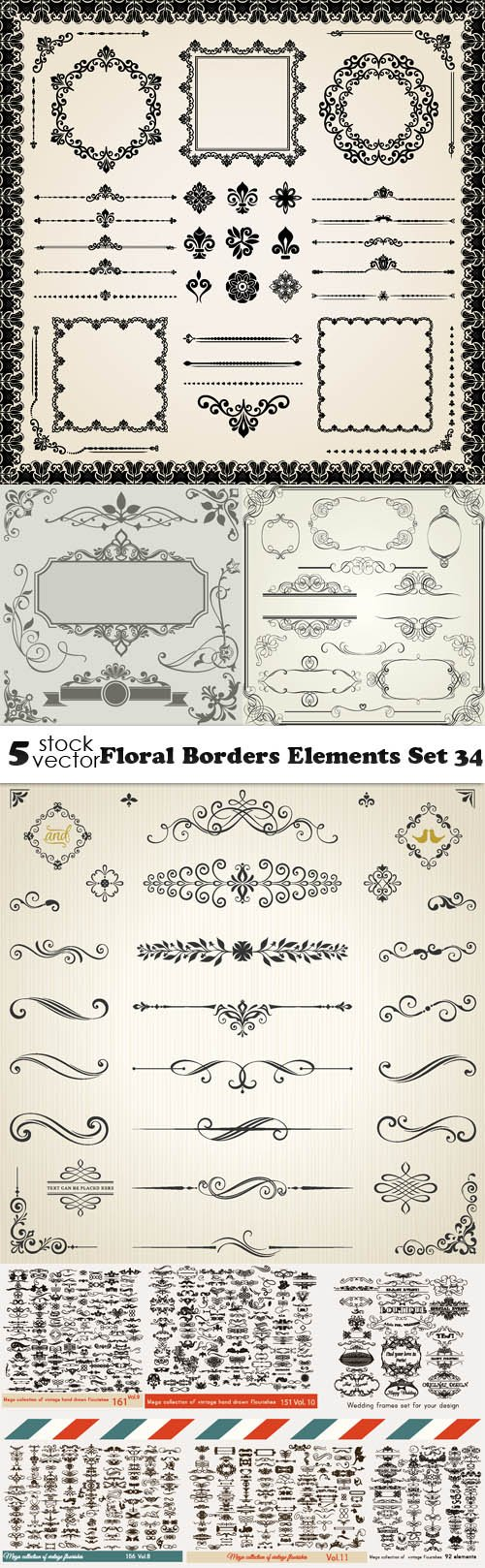 Vectors - Floral Borders Elements Set 34