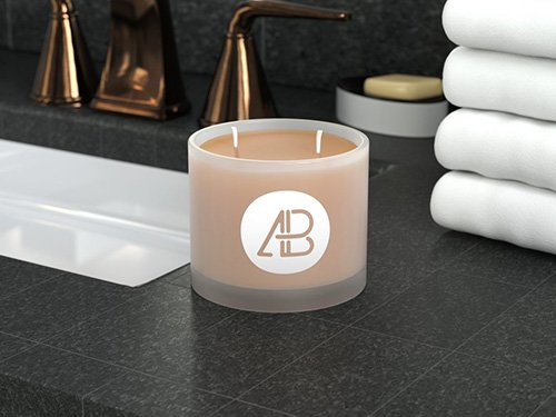 PSD Mock-Up - Frosted Glass Candle