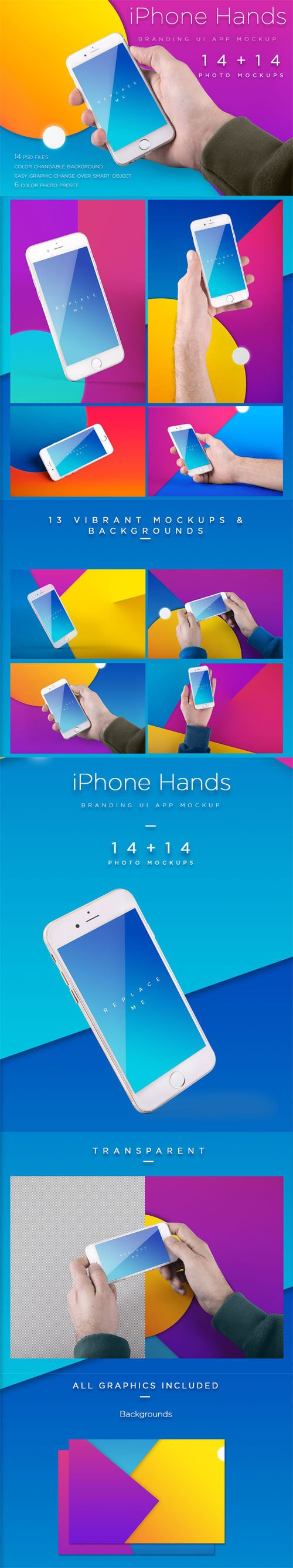 iPhone Mockup / Template With Colorful Bcg's vol.2