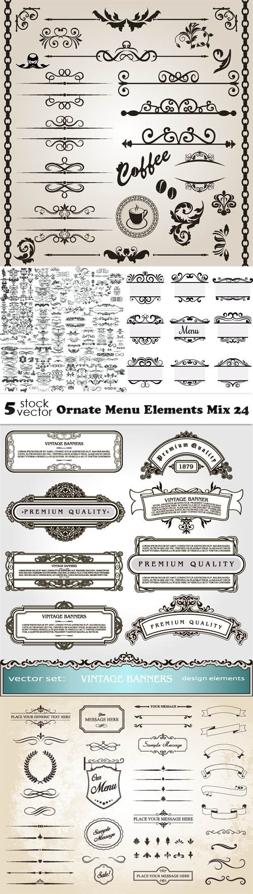 Vectors - Ornate Menu Elements Mix 24