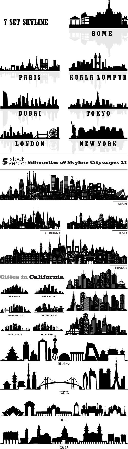 Vectors - Silhouettes of Skyline Cityscapes 21