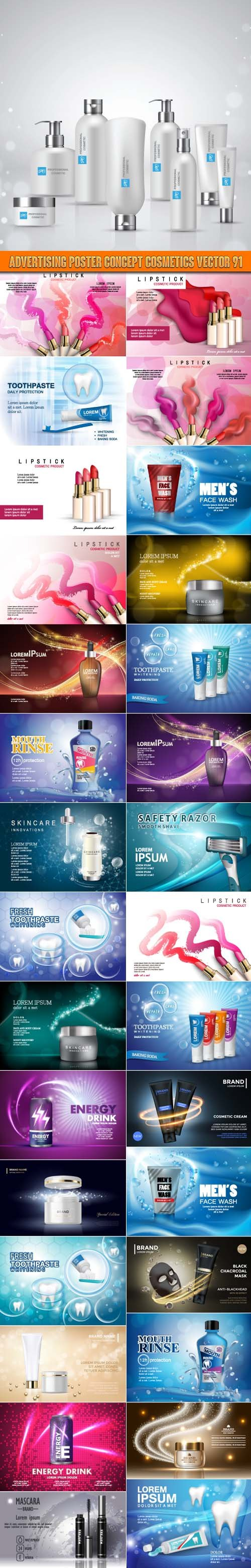 Advertising Poster Concept Cosmetics vector 91