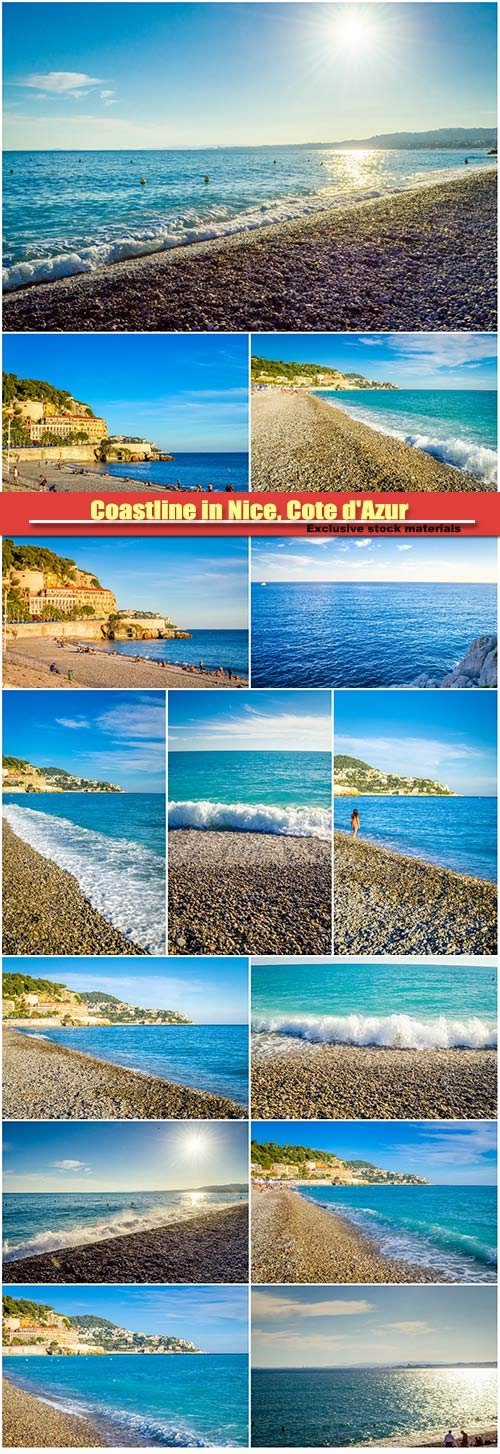 Coastline in Nice, Cote d'Azur, French Riviera, France