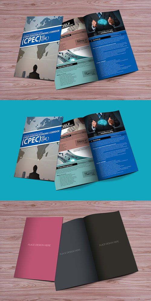 Bi-Fold Brochure Mockup PSD For Graphic Designers