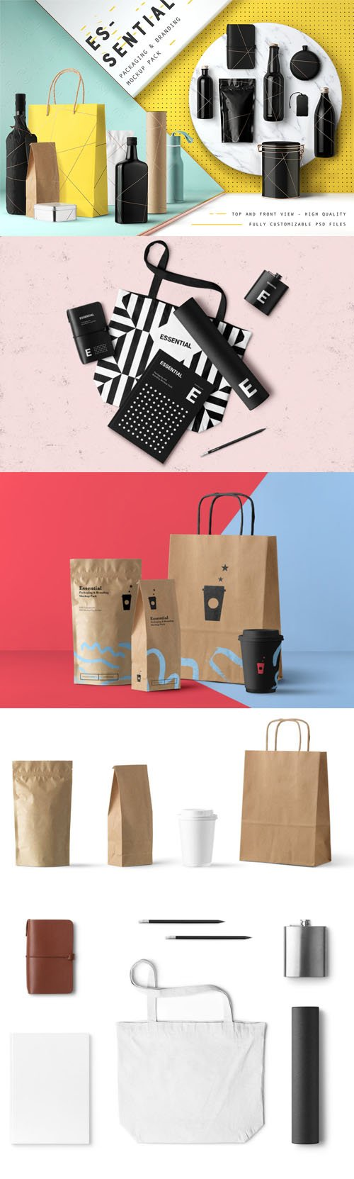 Essential Packaging & Branding PSD Mockup Pack