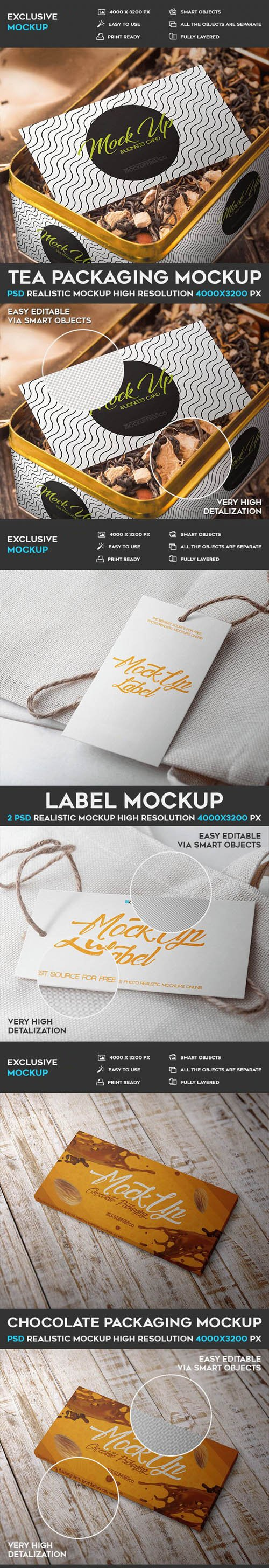 Tea & Chocolate Packaging + Label PSD Mockup Templates