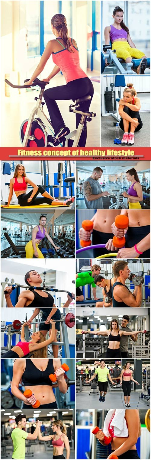 Fitness concept of healthy lifestyle, gym workout