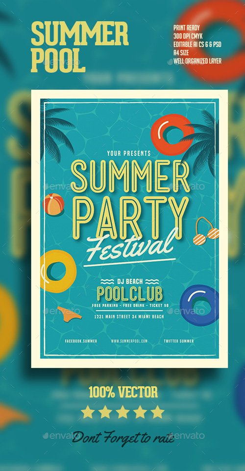 Summer pool Party Flyer 16244171