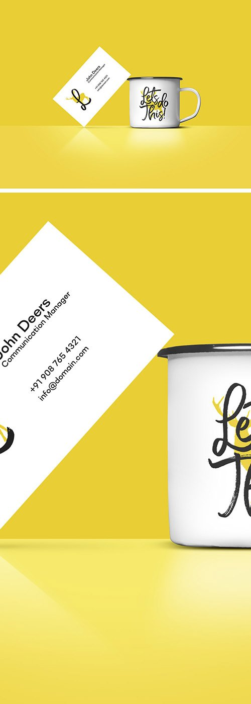 PSD Mock-Up - Business Card And Coffee Cup