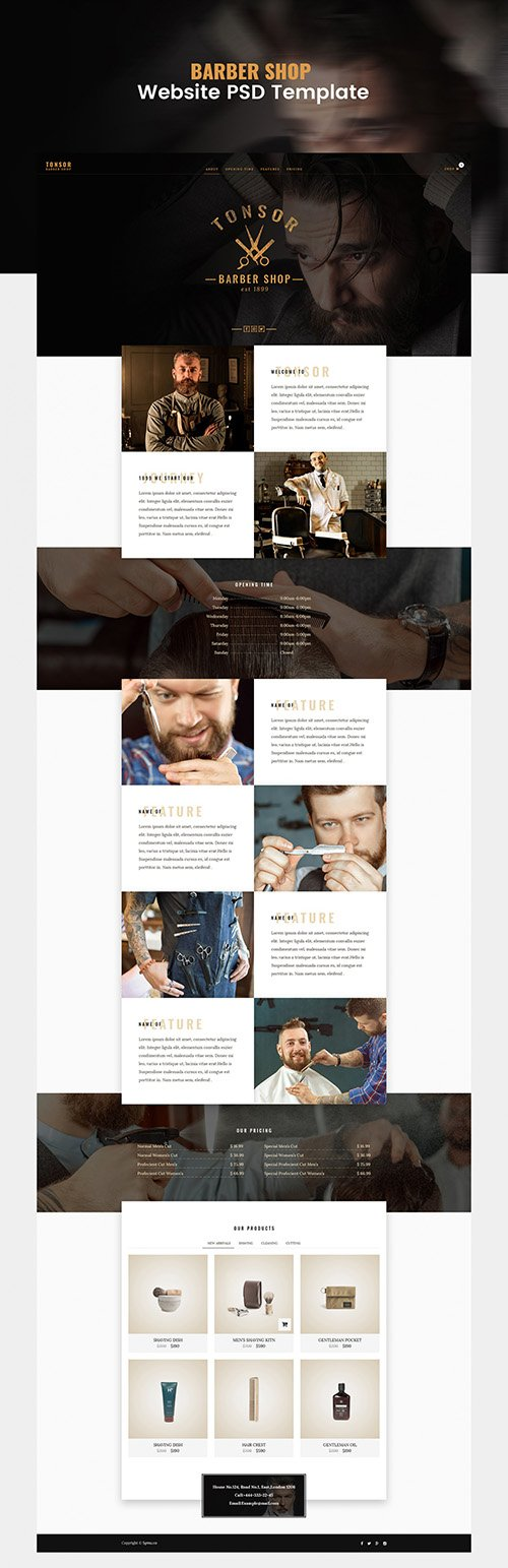 PSD Web Template - Barber Shop - One Page Theme