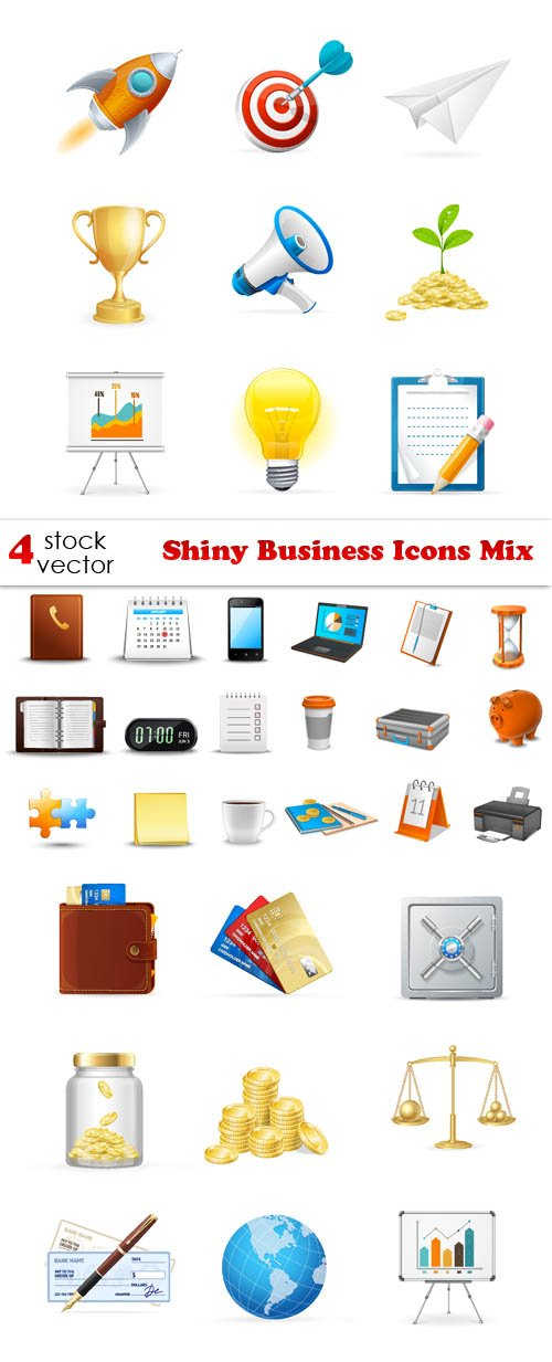 Vectors - Shiny Business Icons Mix