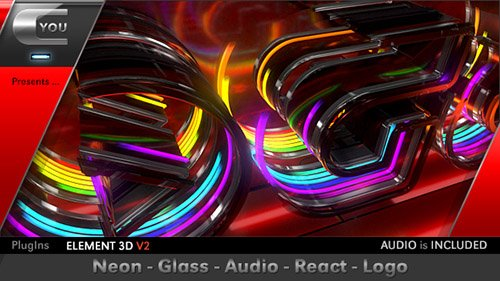 Neon Glass Audio React Logo - Project for After Effects (Videohive)