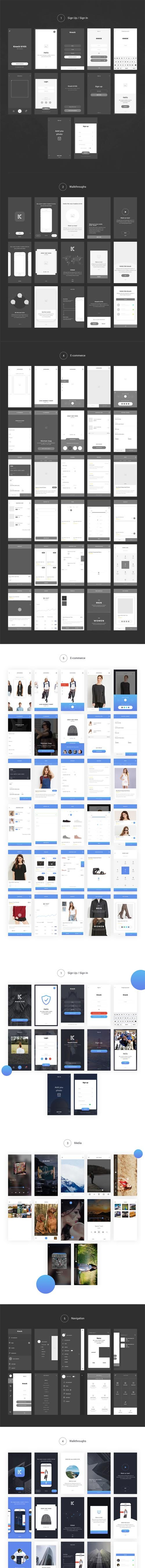 Knock Mobile UI Kit with Wireframe