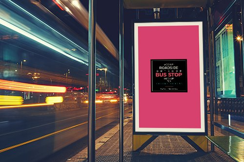 PSD Mock-Up - Outdoor Bus Stop Billboard
