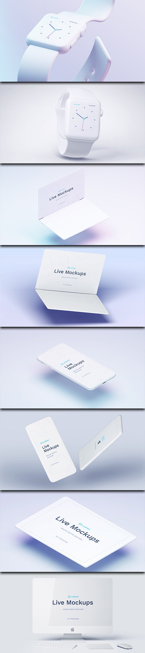 PSD & SKETCH Mock-Up's - Apple Technology - White Clay