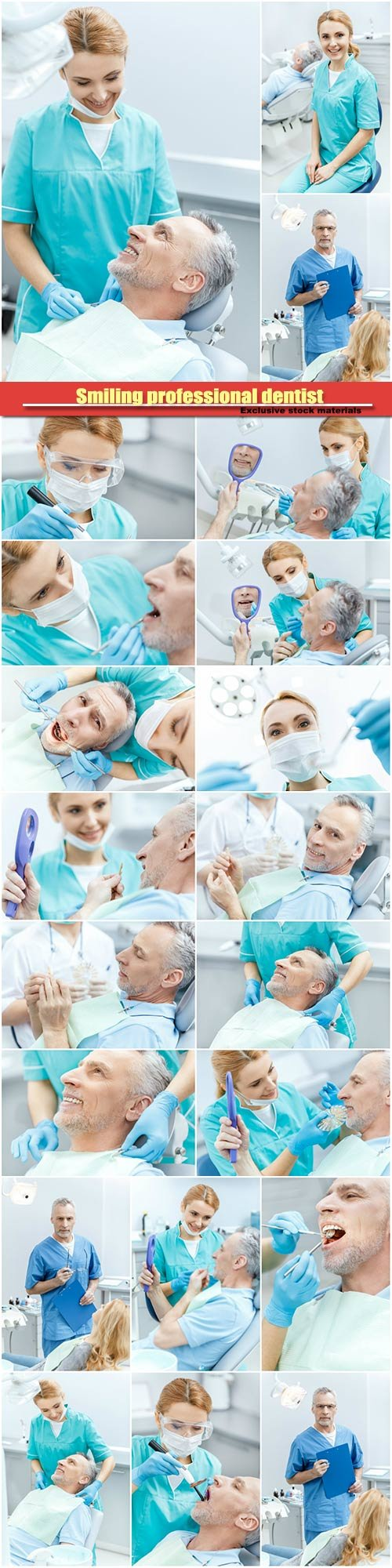 Smiling professional dentist looking at patient