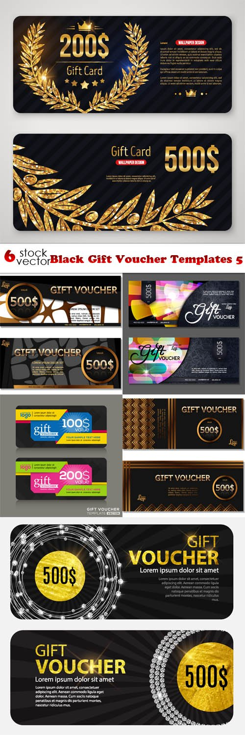 Vectors - Black Gift Voucher Templates 5
