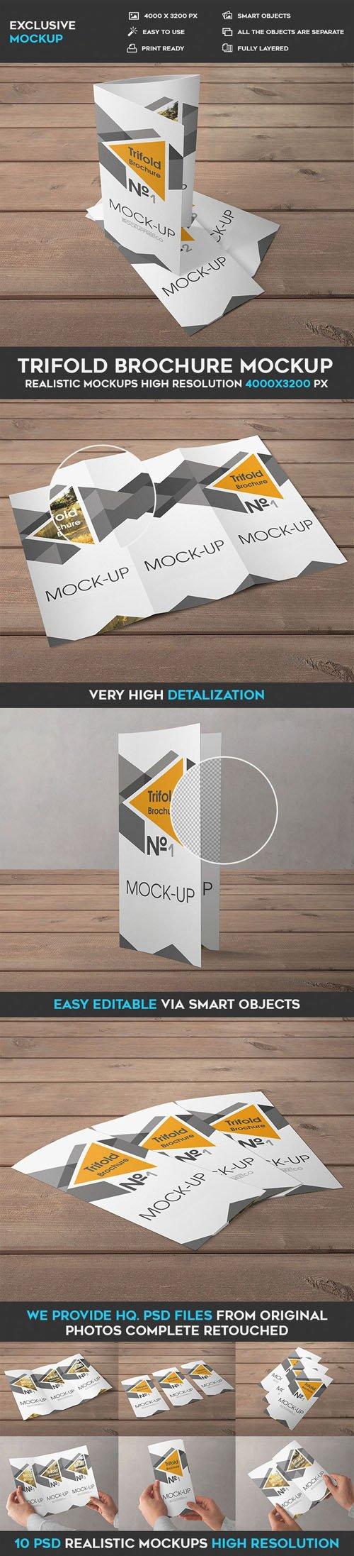 Trifold Brochure - 10 PSD Mockups