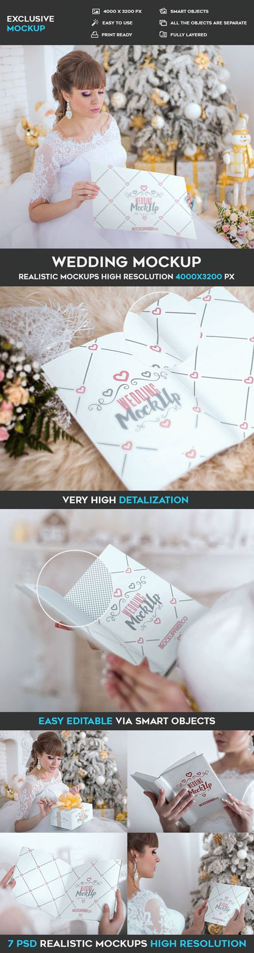 Wedding Invitation, Poster and Book - 7 PSD Mockups