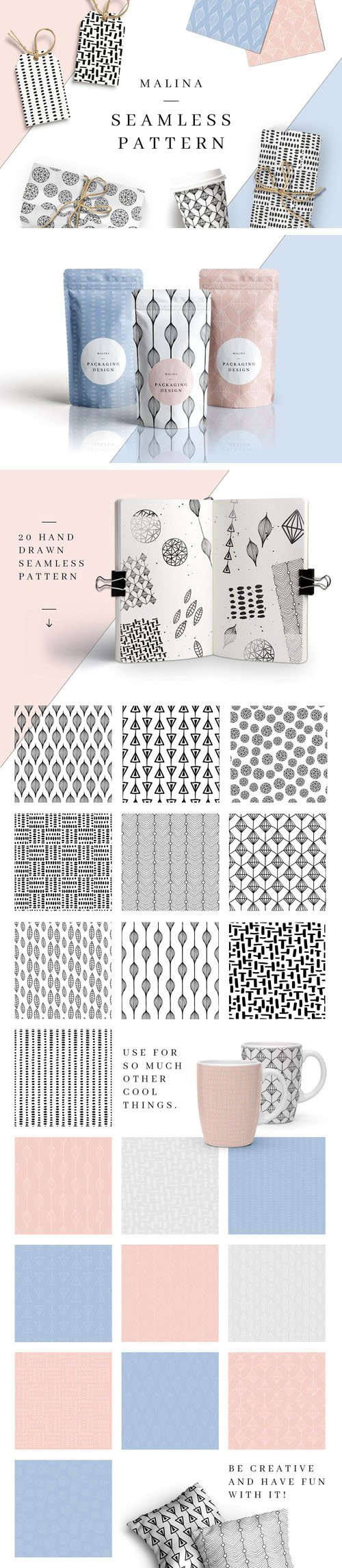 20 Hand-Drawn Seamless Patterns in Vector