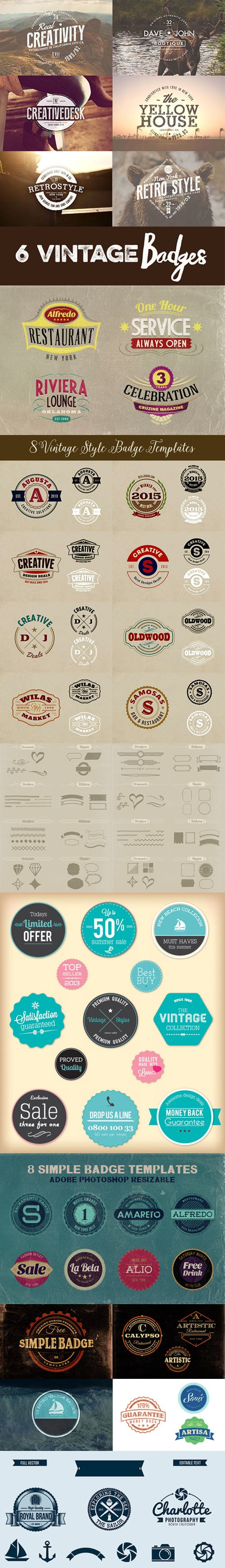 Retro Badges, Signs, Logos and Elements Templates Pack [PSD/AI/EPS]